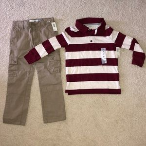 OLD NAVY CARGO AND LONG SLEEVE SHIRT 5T